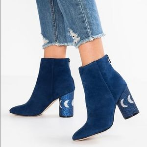 Blue suede ankle boots by Katy Perry